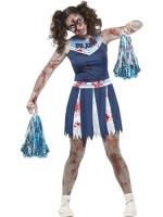 Girls Teens Halloween Fancy Dress Zombie Cheerleader Costume