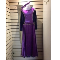 Ladies Historical Purple Dress And Hat Medieval Hire Costume
