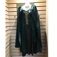 Ladies Historical Green And Gold Detailed Dress Hire Costume