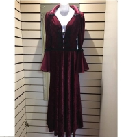 Ladies Historical Victorian Burgundy Dress Hire Costume