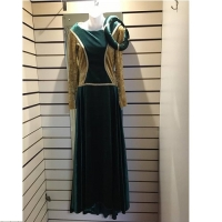 Ladies Historical Medieval Green And Gold Dress Hire Costume