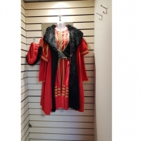 Mens Historical Red Medieval Kind Deluxe Hire Costume