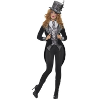 Ladies Halloween Fancy Dress Deluxe Dark Miss Hatter Costume