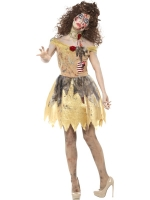 Ladies Halloween Fancy Dress Zombie Bell Golden Princess Costume