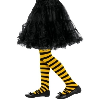 Bumble Bee Black And Yellow Tights Stripe Fancy Dress Girls Tights 8-12 yrs