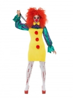 Ladies IT Multi-Colour Classic Clown Fancy Dress Costume