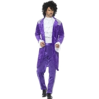 Mens Prince of pop 1980's Fancy Dress Costume Purple Suit Outfit