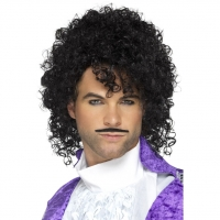Prince of 1980's music wig and tash Black loose afro with curls