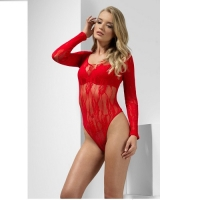 Ladies Red Lace Bodysuit