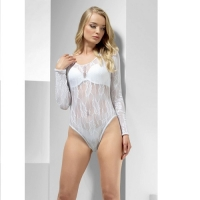 Ladies White Lace Bodysuit