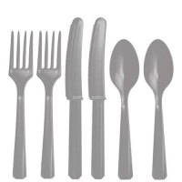 Plastic Silver Cutlery Assorted Pack Of 24 Party Tableware