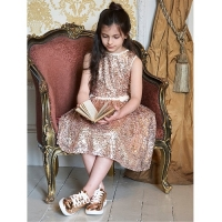 Girls Party Dress Disney Boutique Belle All Over Gold Sequin Dress