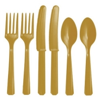 Plastic Gold Cutlery Assorted Pack Of 24 Party Tableware