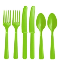 Plastic Lime Green Cutlery Assorted Pack Of 24 Party Tableware