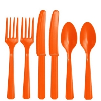 Plastic Orange Cutlery Assorted Pack Of 24 Party Tableware