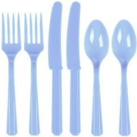 Plastic Pastel Blue Cutlery Assorted Pack Of 24 Party Tableware