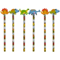 Pack of 6 Pencil's and eraser's dinosaur style