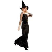 Ladies Green And Black Witch Halloween Fancy Dress Costume