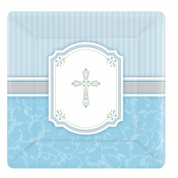 Religious Occasions Communion Blessings Blue Paper Dessert Plates 17cm