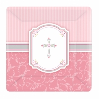 Religious Occasions Communion Blessings Pink Paper Dessert Plates 17cm