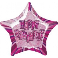 Glitz birthday pink party stay prism happy birthday balloon 20""