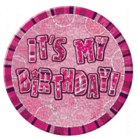 Glitz happy birthday pink party badge 6""
