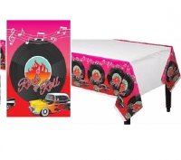 1950's Theme Party Decoration Rock and Roll Tablecover Plastic Party Cover