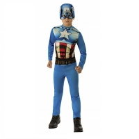 Boys Marvel Avengers Muscle Captain America Fancy Dress Costume