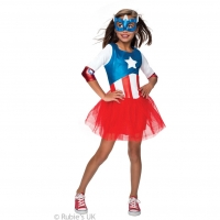 Girls Super Hero Captain America Costume