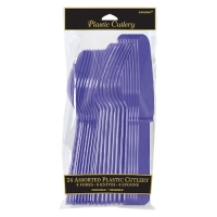 Plastic Purple Cutlery Assorted Pack Of 24 Party Tableware