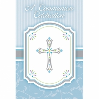 Religious Occasions Communion Blessings Blue Invitation Cards