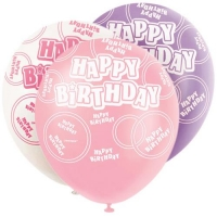 6 Glitz birthday pink party happy birthday balloons 6*12""
