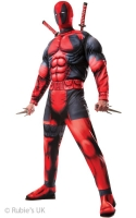 Mens Marvel Superhero Muscle Chest Deluxe Deadpool Fancy Dress Costume