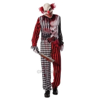 Mens Halloween Fancy Dress Evil Scary Clown Costume
