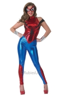 This costume includes a metallic Red and blue all in one jumpsuit with spider detail, 2 x arm gauntlets and facemask.
