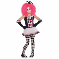 Girls Halloween Fancy Dress Pink Circus Sweetie Clown Costume
