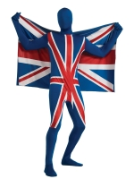 Union Jack Second Skin Lycra Bodysuit Costume with Flag