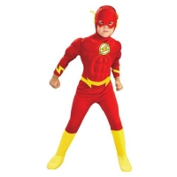 Boys Flash Muscle Chest Fancy Dress Costume Red and Yellow