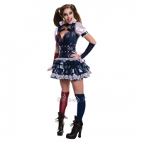 Ladies Halloween Fancy Dress Harley Quinn Arkham Costume