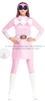 Ladies mighty pink ranger retro Costume Fancy Dress outfit