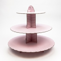 Religious Occasions/ celebrations Pink Gingham Cup Cake Stand - 3 Tier