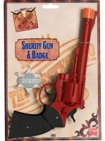 Fancy Dress Accessory Cowboy Plastic red Pistol and badge
