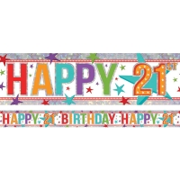 Happy 21st birthday foil banner party decoration 2.7m