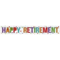Holographic Happy Retirement Foil Banner Special Occasion decoration 2.7m