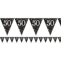 50th birthday flag banner party decoration 4m bunting