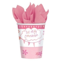 First Holy Communion Pink cups - 266 ml paper party cups