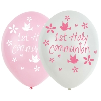 "Pink 6 pack Latex First Holy Communion 11"" Balloons"