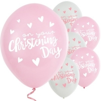 "Pink 6 pack Latex Christening Day 11"" Balloons"