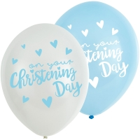 "Blue 6 pack Latex Christening Day 11"" Balloons"
