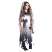 Girls / Teens Halloween Graveyard Bride Fancy Dress Costume XS
